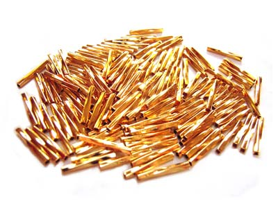 Base Metal Beads - 1.2x10mm Twisted Tube Bugle Gold Plated