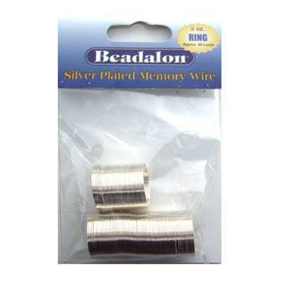 Beadalon Memory Wire Ring 0.62mm Silver Plated 1/2oz packet