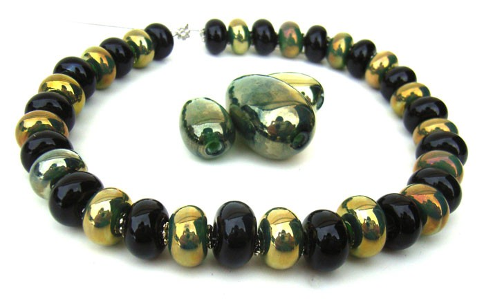 Timeless Black and Gold -  Ian Williams Artisan Glass Lampwork Beads