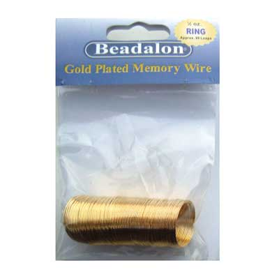 Beadalon Memory Wire Ring 0.62mm Gold Plated 1/2oz packet