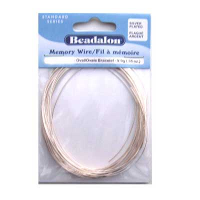 Beadalon Memory Wire Oval Bracelet 0.62mm Silver Plated .35oz packet