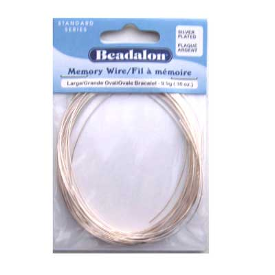 Beadalon Memory Wire Large Oval Bracelet 0.62mm Silver Plated .35oz packet