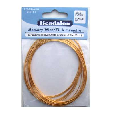 Beadalon Memory Wire Large Oval Bracelet 0.62mm Gold Plated .35oz packet