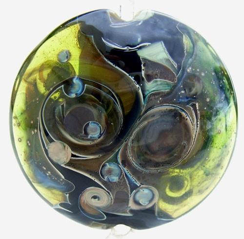Turmoil Lentil 37mm ~ Ian Williams Handmade Artisan Glass Lampwork Pendant Bead x1