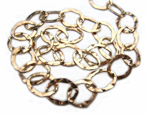 Gold Filled Chain ~ Oval Hammered ~ 6x8mm - per foot (30cm)