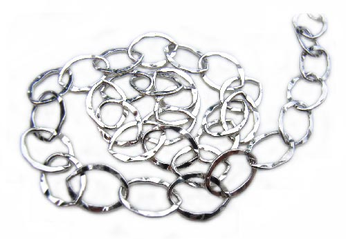 Sterling Silver Chain ~ Oval Hammered ~ 6x8mm - per foot (30cm)