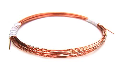 Pure 100% Copper - Round Half Hard Wire - 21ga per 10ft - 300cm