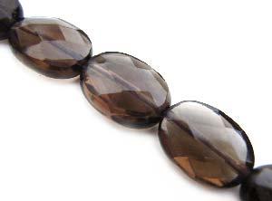 Smokey Quartz ~ 13x10mm Faceted Oval ~ Gemstone Beads x1