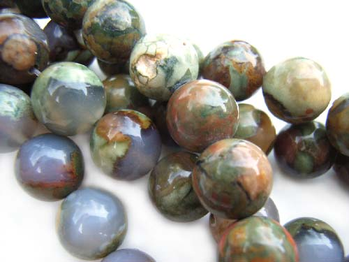 Rhyolite - Rainforest Jasper 8mm Round Gemstone Beads x1