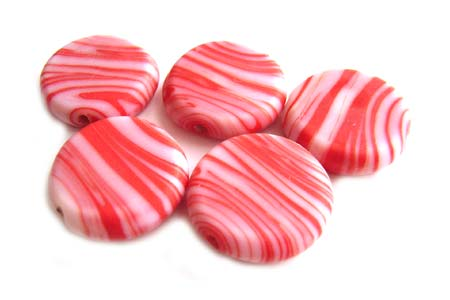 Glass Coin Tab Beads 17x6mm Matte Strawberry x5