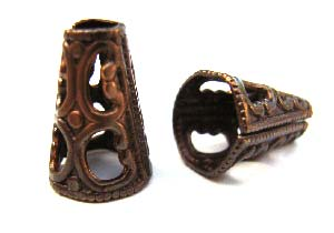 Vintaj Natural Brass 13x8mm Filigree Cone End Cap x1