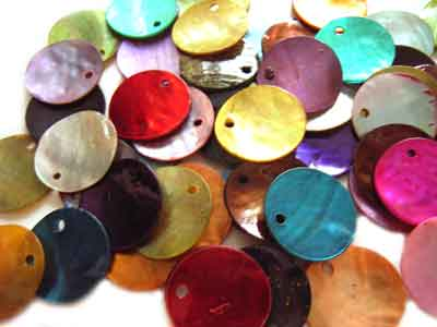 Shell Charms 15mm Round Dyed Mixed Colour x50
