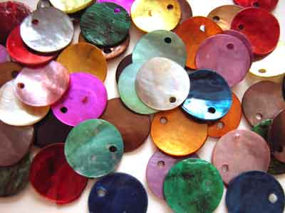 Shell Charms 12.5mm Round Dyed Mixed Colour x50