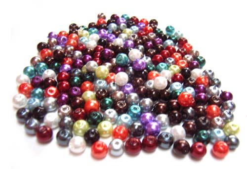 Faux Pearls 4mm Glass Beads 20 gram Soup Mix