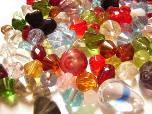 Glass Bead Soup Mix, Bicones & Misc Shapes 50g