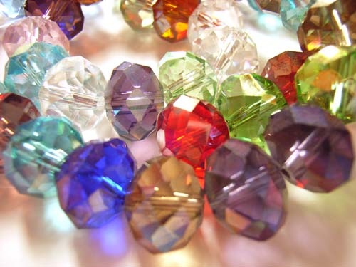 Imperial Crystal Roundelle Beads 12x9mm Mixed Gemtones (45pc approx)