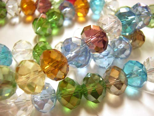 Imperial Crystal Roundelle Beads 10x8mm Mixed Sea Gems (55pc approx)
