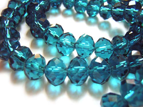 Imperial Crystal Roundelle Beads 8x6mm Blue Zircon (70pc approx)