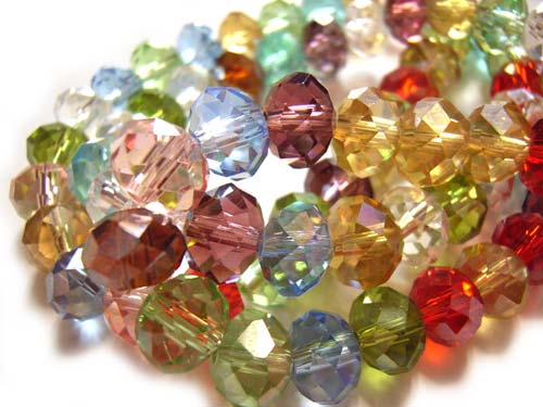 Imperial Crystal Roundelle Beads 8x6mm Soft Jewels Mix (70pc approx)