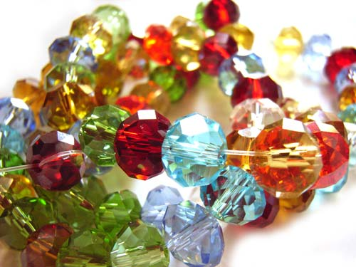 Imperial Crystal Roundelle Beads 8x6mm Assorted Jewels Mix (70pc approx)