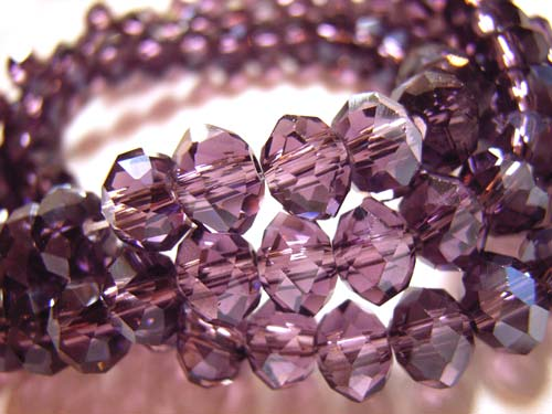 Imperial Crystal Roundelle Beads 6x4mm Dark Tanzanite Lustre (100pc approx)