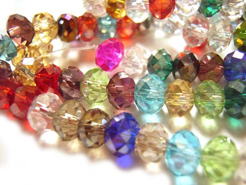 Imperial Crystal Roundelle Beads 6x4mm Gems Mix  (100pc approx)