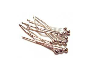 Silver Tone Brass 26g Ball Ballpoint Head Pins 20mm x150 approx