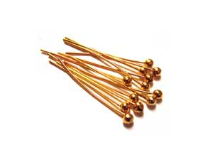 Gold Tone Brass 26g Ball Ballpoint Head Pins 20mm x150 approx
