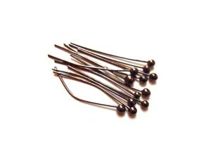 Gunmetal Black Brass 26g Ball Ballpoint Head Pins 35mm x100 approx