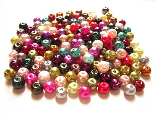 Faux Pearls 6mm Glass Beads 40 gram Soup Mix