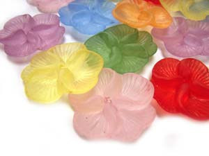 Lucite Flowers 22x20x5.5mm Pansy Frosted Bead 14.5g Soup Mix