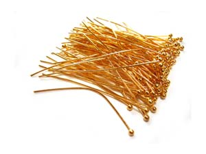 Gold Tone Brass 24g Ball Ballpoint Head Pins 50mm x85 approx
