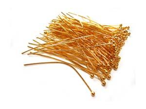 Gold Tone Brass 24g Ball Ballpoint Head Pins 50mm x85 approx