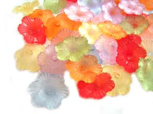 Lucite Flowers 12x12x4mm Petunia Frosted Bead 10g Soup Mix
