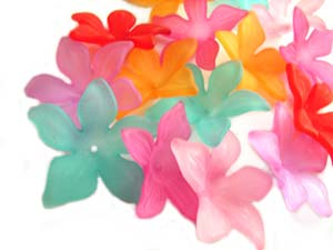 Lucite Flowers 28x26x7mm Frangipani Frosted Beads 18pc, Choose Colours