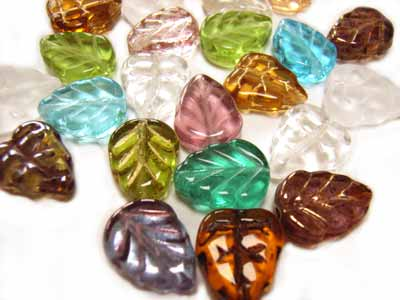 Czech Leaf Beads 10x8mm Soup Mix x24