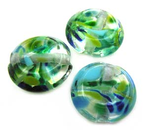 Water Ripple Faceted Tab 18mm - Ian Williams Handmade Artisan Glass Lampwork Beads - By the Bead