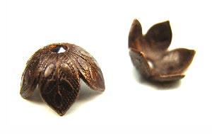 Vintaj Natural Brass 8mm Leaf Foliage Bead Cap x1