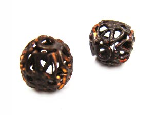Vintaj Natural Brass 7mm Round Filigree Bead Wrap x1