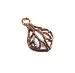 Vintaj Natural Brass - 8x12mm Filigree Tear Drop Charm x1