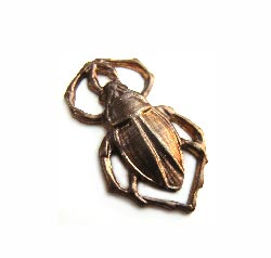 Vintaj Natural Brass 11x18mm Scarab Charm x1