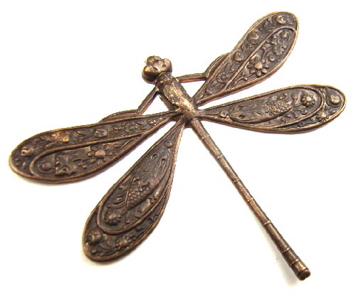 Vintaj Natural Brass 50x39mm Ornate Dragonfly Pendant x1