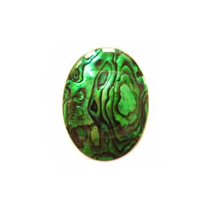 Cabochon - Abalone Shell Emerald Green 18x13mm (2.1mm) Oval x1