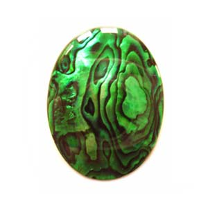 Cabochon - Abalone Shell Emerald Green 25x18mm (2.1mm) Oval x1