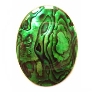Cabochon - Abalone Shell Emerald Green 40x30mm Oval x1