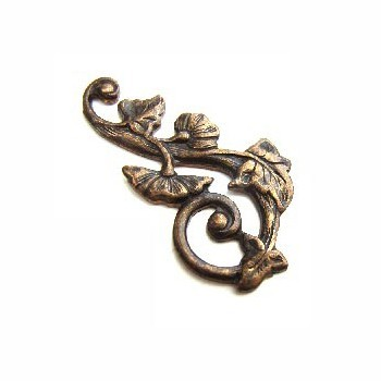 Vintaj Natural Brass 27x15mm Deco Vines Swirling Left Filigree - Wrap x1