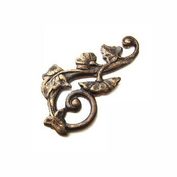 Vintaj Natural Brass 27x15mm Deco Vines Swirling Right Filigree - Wrap x1