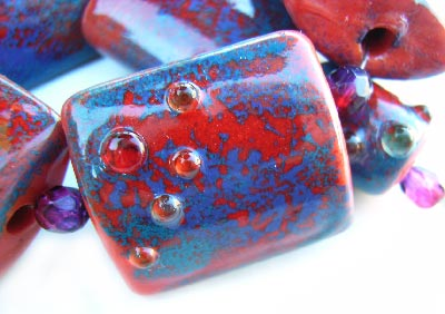 Sunset Sky - Enamelled- Artisan Glass Lampwork 8 Beads ~ Ian Williams