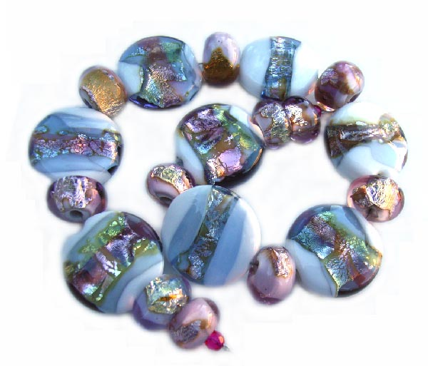 RESERVED - Lake Jewels - Ian Williams Handmade Artisan Glass Lampwork 19 Beads