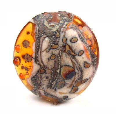 "Amber Relic 1 3/8"" - 35mm ~ KGBeads Handmade Artisan Glass Lampwork Pendant Bead"